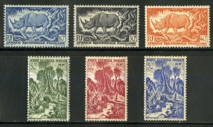 FRENCH EQUATORIAL AFRICA 166-71 MH SCV $3.60 BIN $1.50 MAMMAL, NATURE