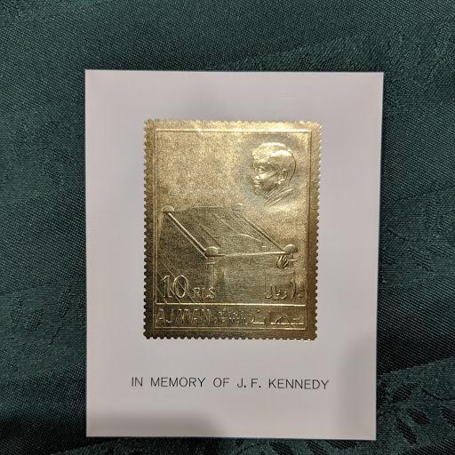 Ajman Mi 208 Kennedy Gold Foil, XFNH, CV $11