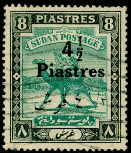 SUDAN SG80, 4½p on 8p emerald & black, USED.