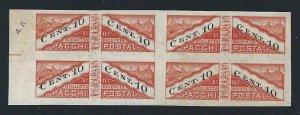 1945 San Marino, Packs Post N° 17c 10c. Orange And Black MNH / ND Quartina