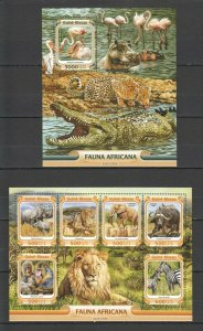 ST880 2016 GUINEA-BISSAU BIRDS FAUNA OF AFRICA WILD ANIMALS 1KB+1BL MNH STAMPS