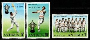BARBUDA SG246/8 1975 WORLD CRICKET CUP WINNERS MNH