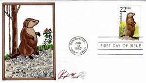 Pugh Designed/Painted Woodchuck FDC...43 of 105 created!