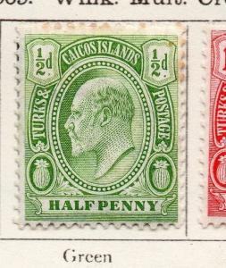 Turks Caicos 1909-10 Early Issue Fine Mint Hinged 1/2d. 269536