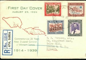 SAMOA FDC 1939 Apia Registered First Day Cover Values 1d - 7d GB London PB299