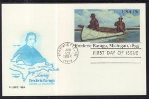 US UX103 Frederic Baraga Postal Card Artmaster U/A FDC