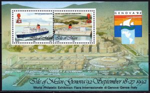 Isle Of Man. 1992. bl18. Ships. MNH.