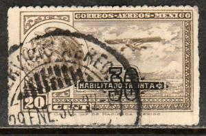 MEXICO C49, 30 on 20c SURCHARGED ARMS & PLANE. USED. (503)