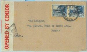 89180  - KENYA TANGANIKA UGANDA  - POSTAL HISTORY - Censored COVER to INDIA 1942