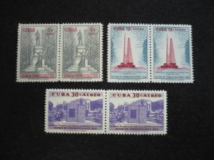 Stamps - Cuba - Scott# C206-C208 - Mint Hinged Set of 3 Stamps in Pairs