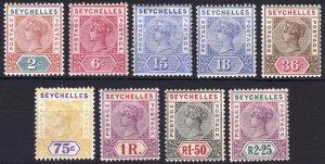 Seychelles 1897 2c-2r25 Key Plate Die II SG 28-36 Sc 2/21 LMM/MLH Cat £300($400)