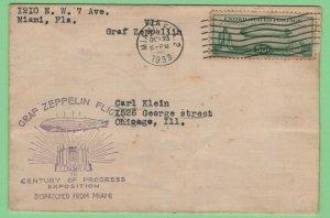 $US Sc#C18 Miami to Chicago Oct. 23, 1933 Zeppelin flight cover