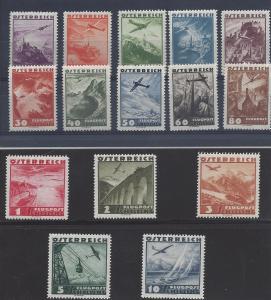 Austria, C32-C46 (15v), Various Airmail Designs Singles, **MNH** (LL2018)