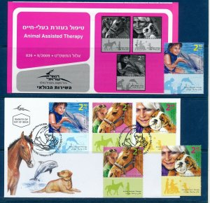 ISRAEL 2009 ANIMAL ASSISTED THERAPY STAMPS MNH + FDC + POSTAL SERVICE BULLETIN