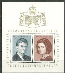 1967 Liechtenstein 424 Prince Hans Adam & countess Kinsky MNH S/S