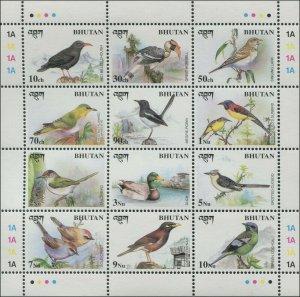 Bhutan 1998 Sc 1194 Birds Hornbill Duck Cuckoo CV $5