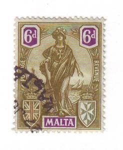 Malta Sc 108 1922 6d Malta Statue stamp used