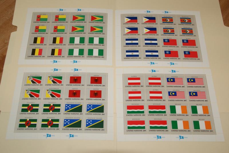 1982 United Nations, UN - NY, Flags series complete sheets of 16, FV $12.80
