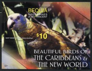 BEQUIA  2016 BEAUTIFUL BIRDS OF THE CARIBBEAN & THE NEW WORLD   S/SHEET  MINT NH