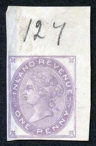 1d Lilac Postal Fiscal SGF20-22 Imprimatur Plate 127
