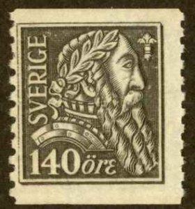 Sweden Sc# 196 MH coil 1921 140o gray black Gustavus Vasa
