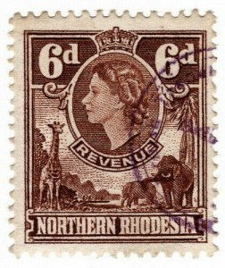 (I.B) Northern Rhodesia Revenue : Duty Stamp 6d