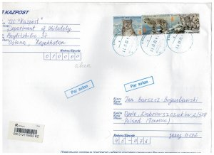 Kazakhstan 2017 Registered Cover to Poland Stamps Animals Snow Leopard