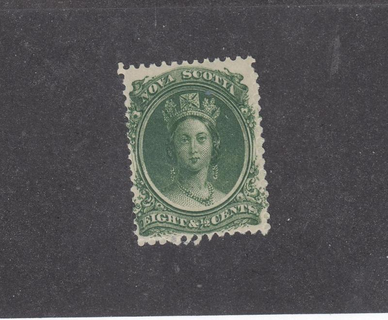 NOVA SCOTIA  REF# KM1 # 11 FVF-MNH 81/2cts  QUEEN VICTORIA GREEN CAT VALUE $30