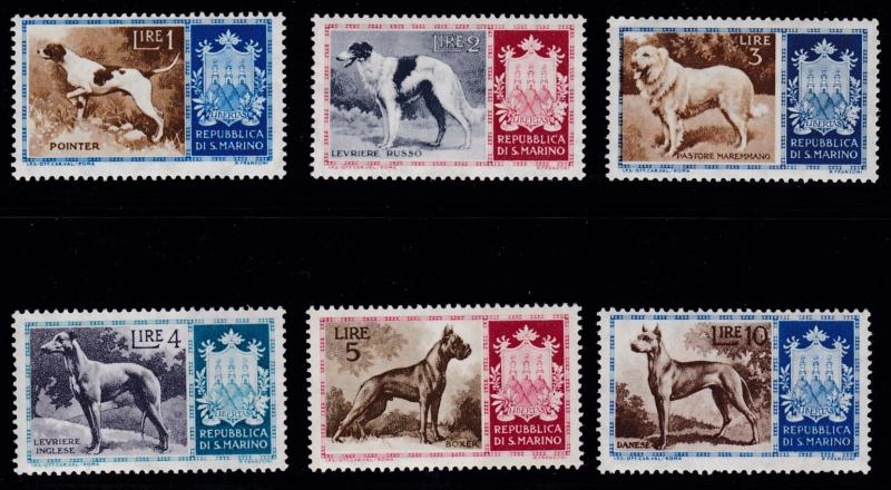 San Marino 1956 Coat of Arms & DOGS Complete (10) large Breeds VF/NH
