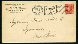U.S. Scott 319 George Washington On 1905 Cover w/Hardware Ad Corner Card