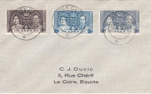 Aden # 13-15, King George VI Coronation, 1st Day Cover