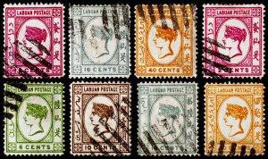 Labuan Scott 33, 38-39, 42-43, 45, 47-48 (1892-94) Used F, CV $96.85 C