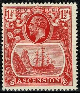 ASCENSION KG V 1924-33 1 1/2d ROSE-RED SG 12 MNH Wmk. MSCA P.14 VGC