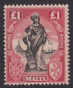 Malta 1922 Allegorical Figure £1 MNH ** watermark Multiple Script CA sideways