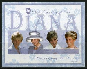 UNION ISLAND  PRINCESS DIANA 50th BIRTH   IMPERFORATE  SHEET  MINT NH