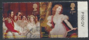 GB Used 2019 Queen Victoria Anniversary £1.60 se-tenant pair  see scan for d...