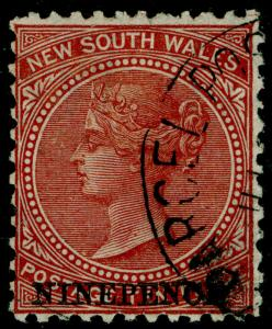 AUSTRALIA SG220b, 9d on 10d red-brown, FINE USED. Cat £16. PERF 12.