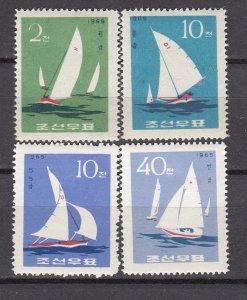 J26833 1965 north korea set mh #661-4 sailboats