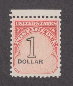 US Sc J100 MNG. 1959 $1 Postage Due, value w/ strong shift to left