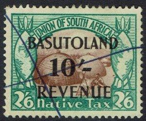 BASUTOLAND 1942 NATIVE KRAAL 10/- ON 2/6 REVENUE USED