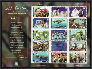 2000 Marshall Islands Events of 20th Century sheet MNH Sc# 726 a-o CV: $18.00