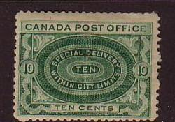Canada Sc E1 1898 10c Special Delivery stamp mint