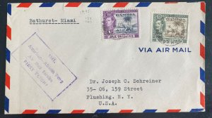 1941 Bathurst Gambia Airmail First Flight Cover FFC To Flushing nY Usa