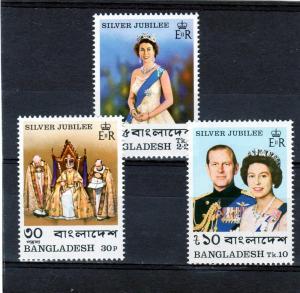 Bangladesh 1977 Silver Jubilee Q.E.II Set(3) Sc#123/125