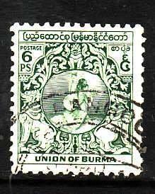 Burma-Sc#103- id7-used 6p green-1949-