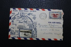 1940 Alaska-United States- via PAA Air Mail Cover w/3 Stamps and Photo