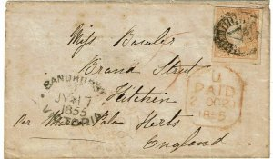 Victoria 1855 Sandhurst cancel on cover to England, franked SG 32a