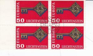 Liechtenstein 1968 Europa 50r Block of 4 SG490 VFU