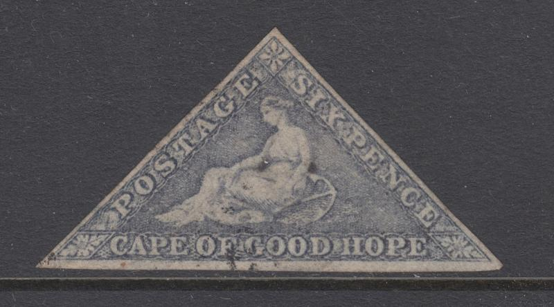 Cape of Good Hope Sc 5c, SG 7d used 1863 6p Hope Seated Triangular, almost VF