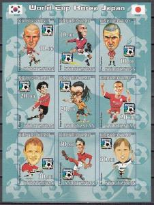 Kyrgyzstan, 2001 Russian Local issue. World Cup Soccer, #1 IMPERF sheet.